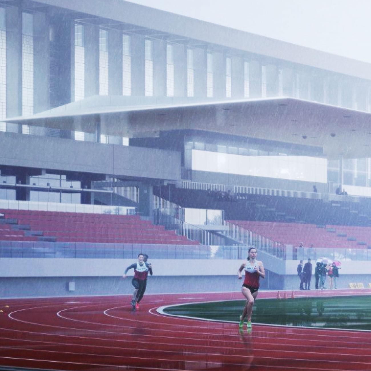 Sky Windows SFU Stadium Rainy Track